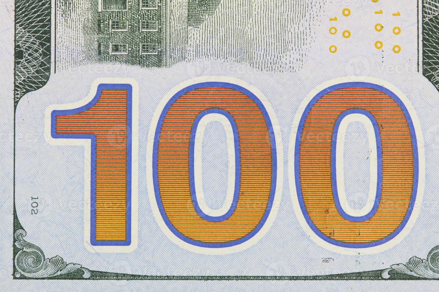 primo piano di cento dollari foto