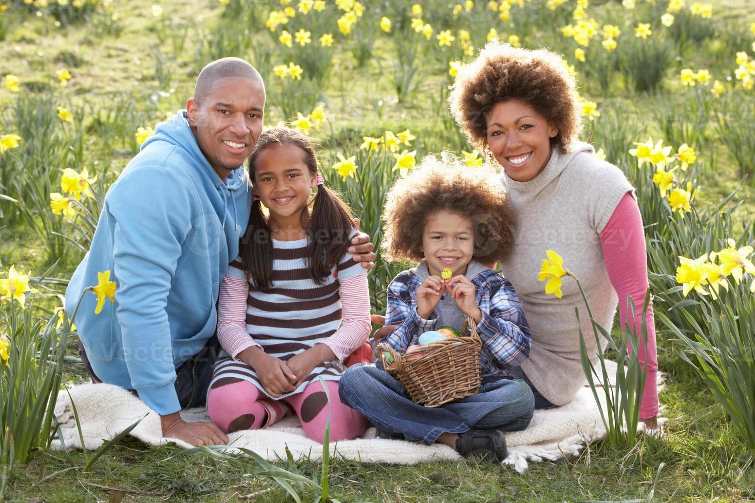 famiglia di quattro persone in posa per il ritratto tra il campo di narcisi foto