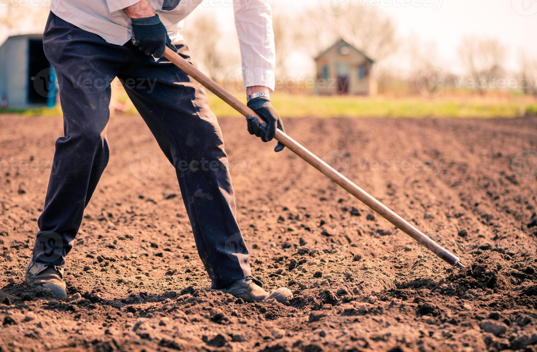 lavoratore su terreni agricoli foto
