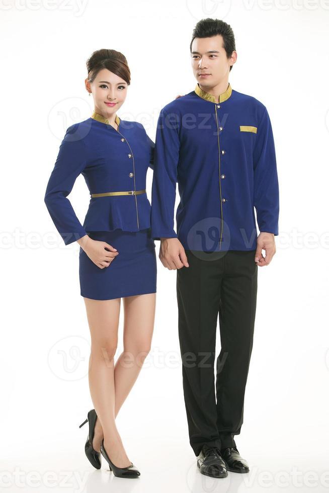 Indossare abbigliamento occupazione camerieri cinesi a sfondo bianco foto