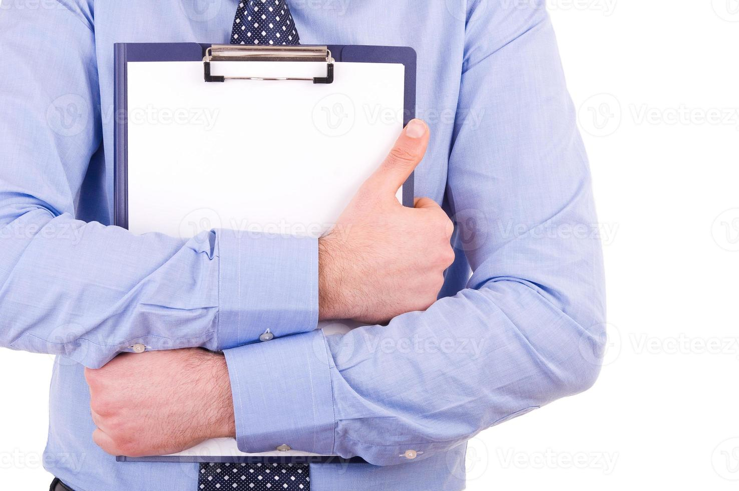 uomo d'affari in possesso di un appunti. foto