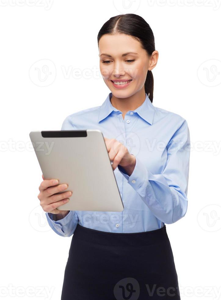 imprenditrice sorridente con computer tablet foto