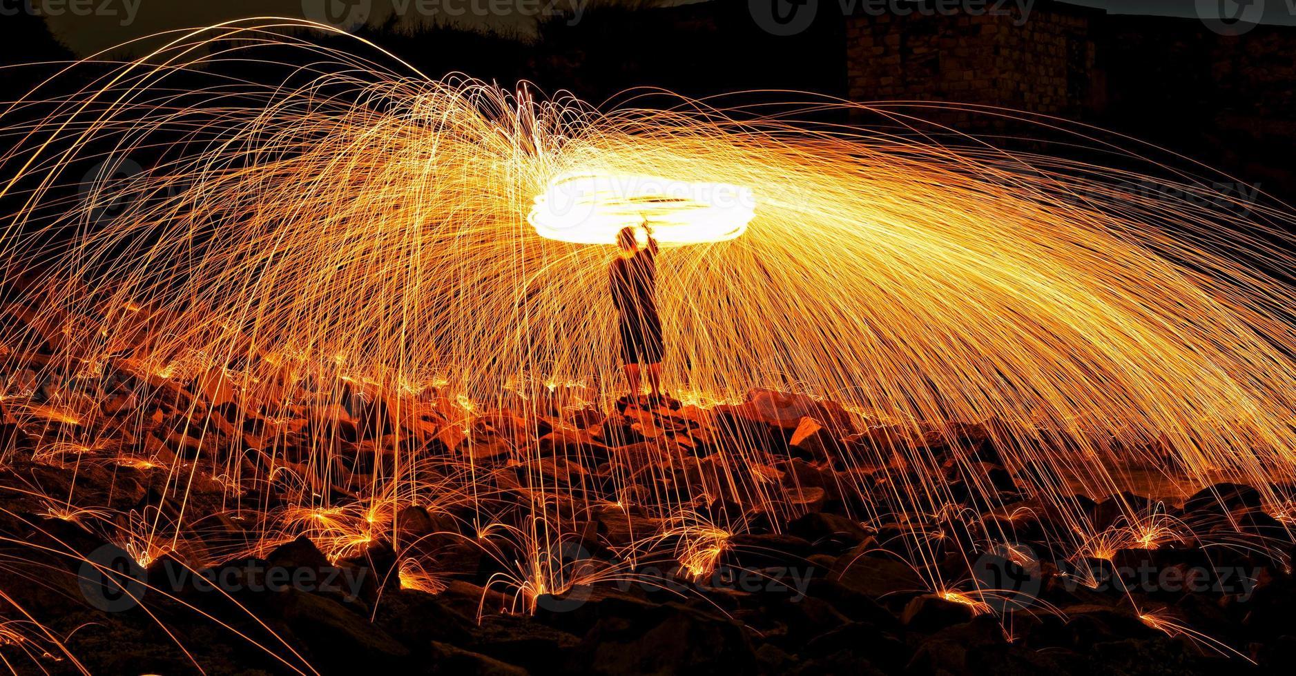 fuochi d'artificio in lana d'acciaio foto