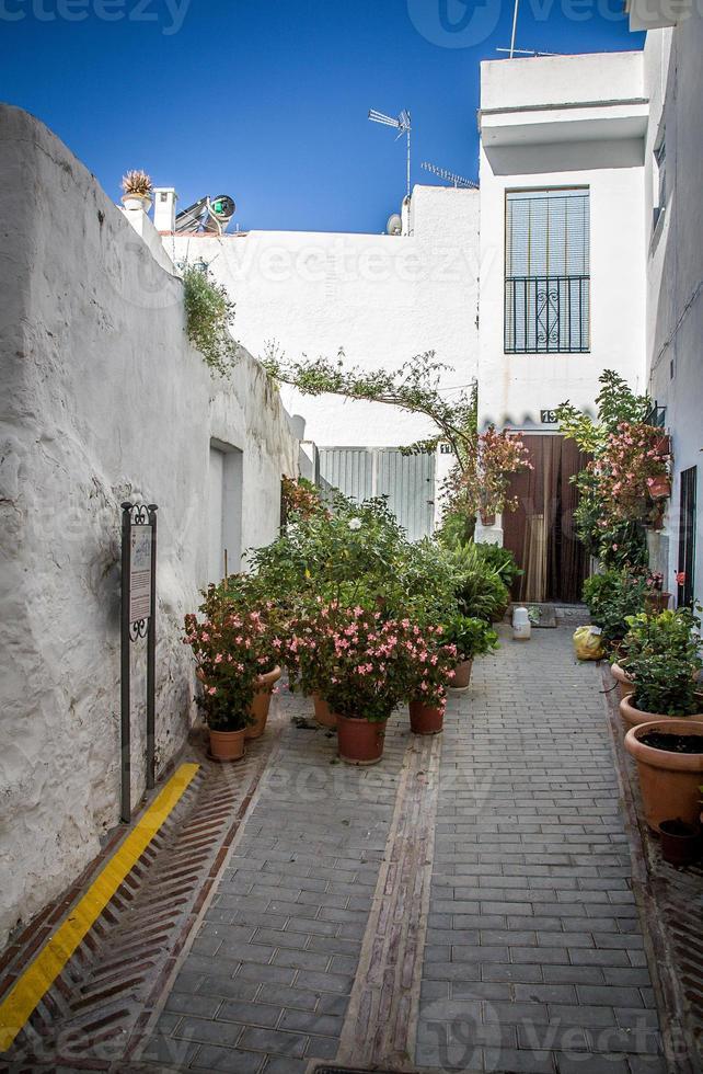 villaggi di andalucia con fiori nelle strade foto