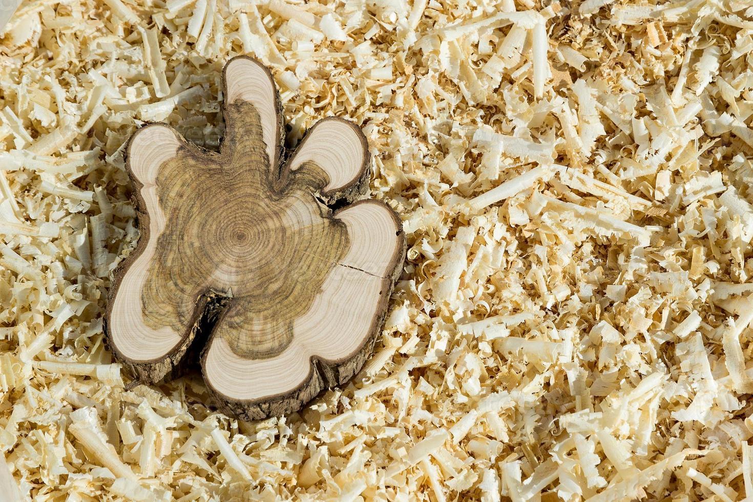 blocco di legno su trucioli foto