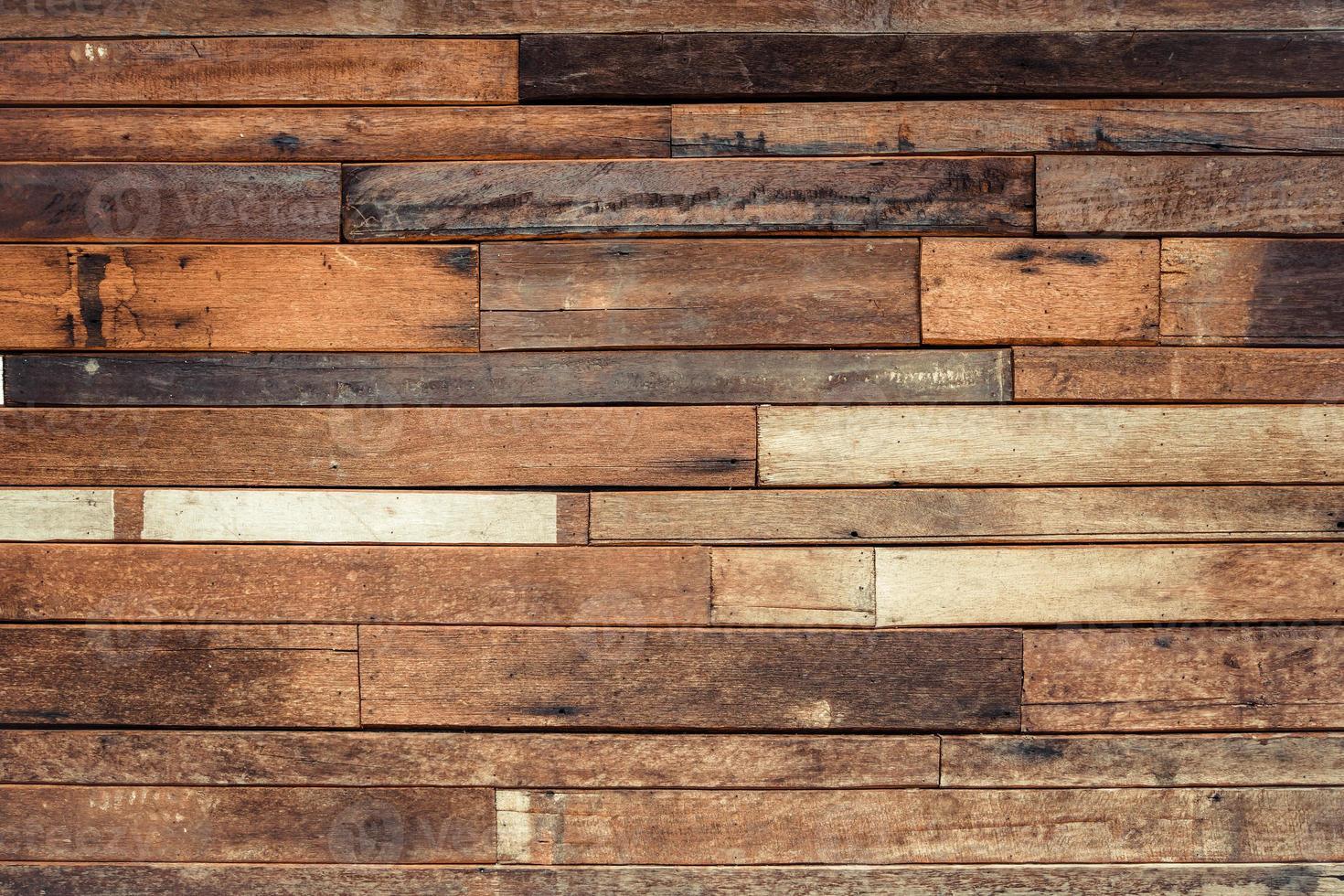 vecchia parete di legno della plancia foto