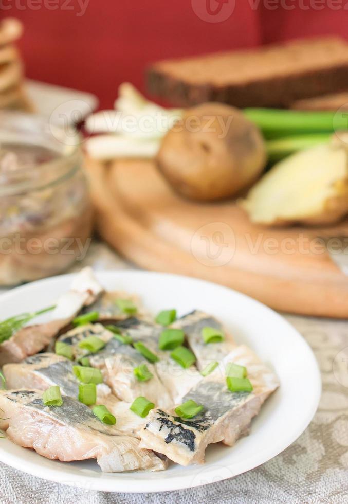 aringhe in salamoia con cipolle verdi verdi e finocchio. foto