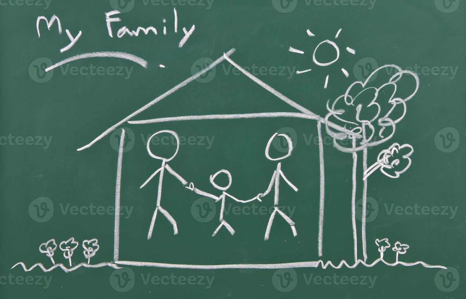 disegno della famiglia sulla lavagna foto