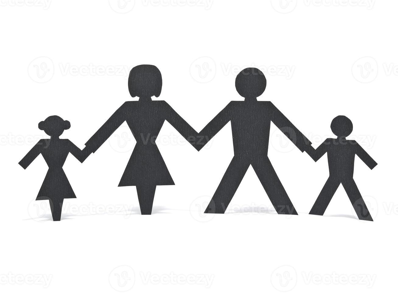 famiglia di carta isolata foto