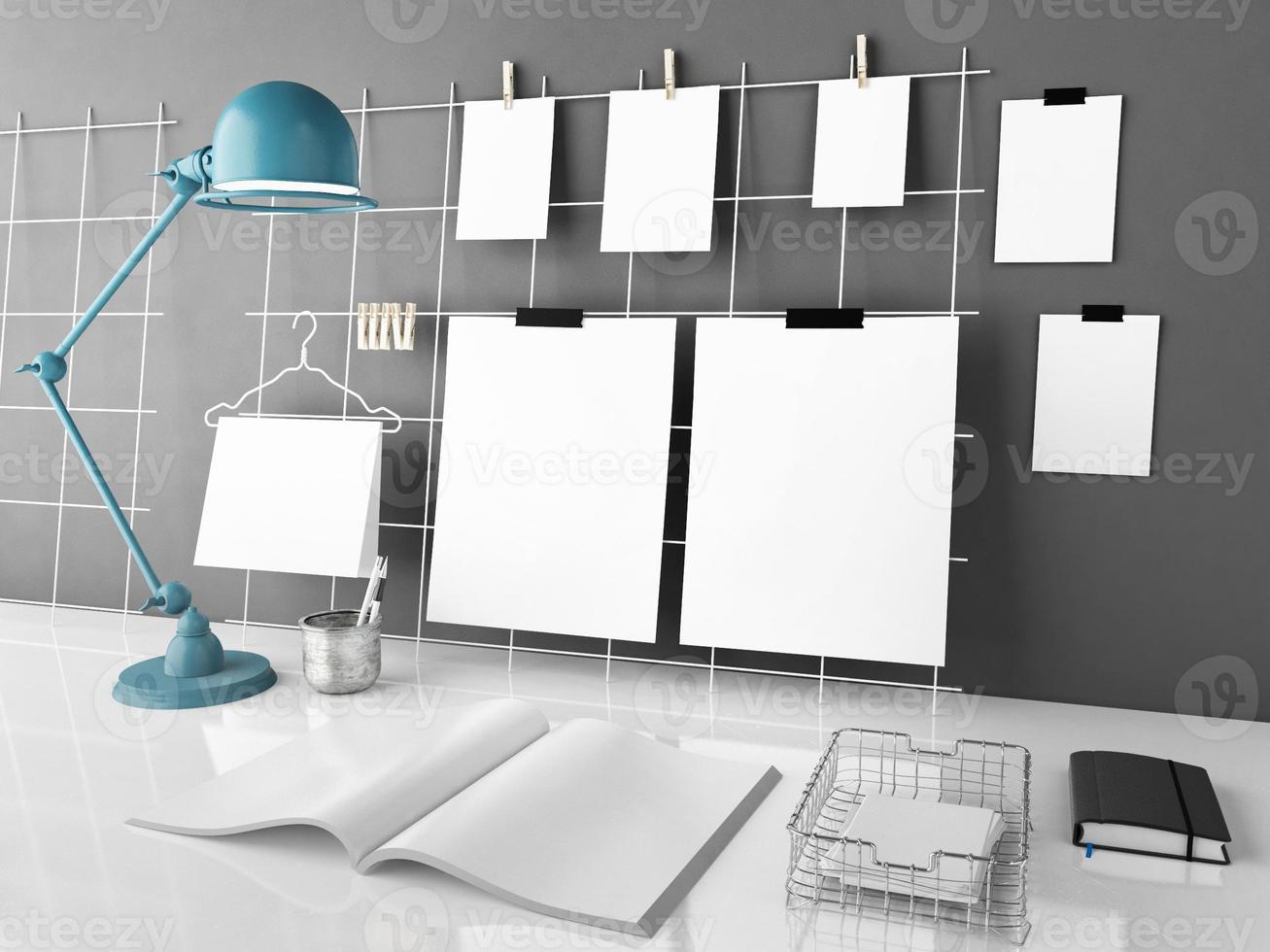 scrivania mock up, illustrazione 3d foto