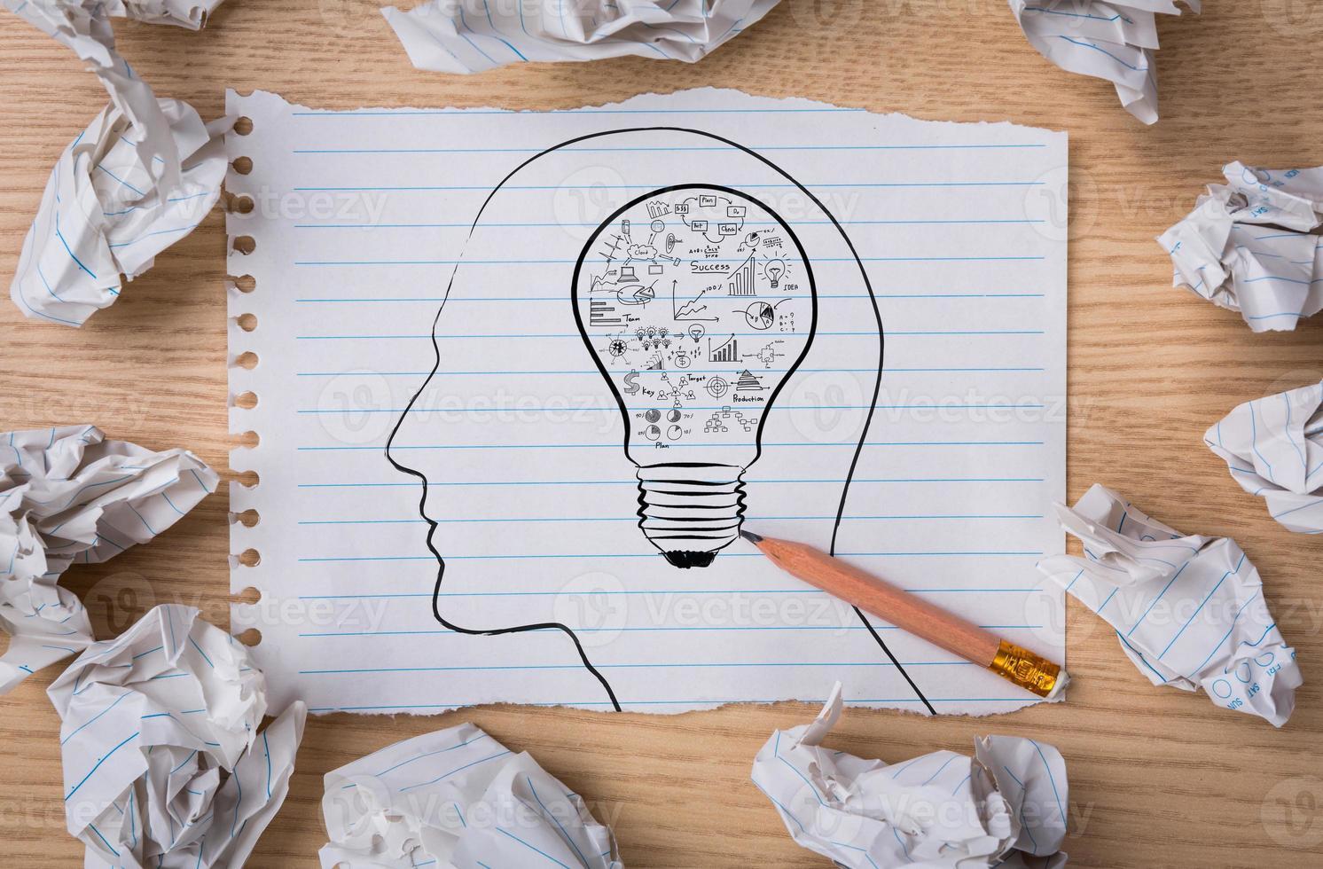 carta bianca del taccuino con la lampadina di disegno a matita foto