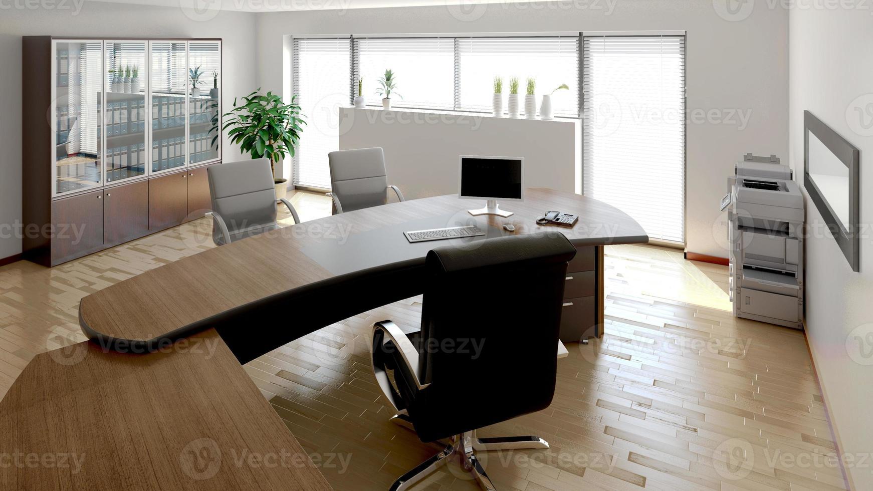 Rappresentazione interna 3d di un ufficio moderno foto