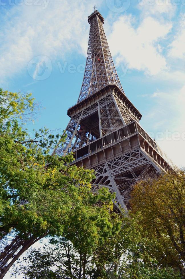 vista della torre eiffel tra gli alberi foto
