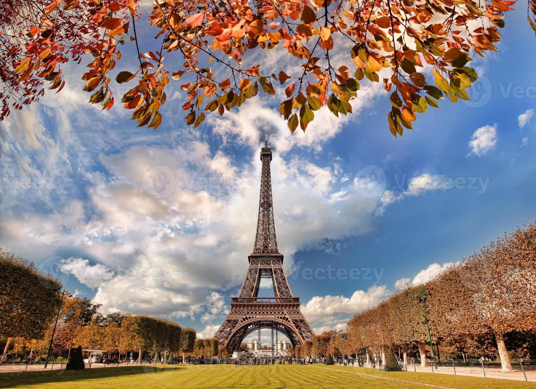 Torre Eiffel con l'albero di autunno a Parigi, Francia foto