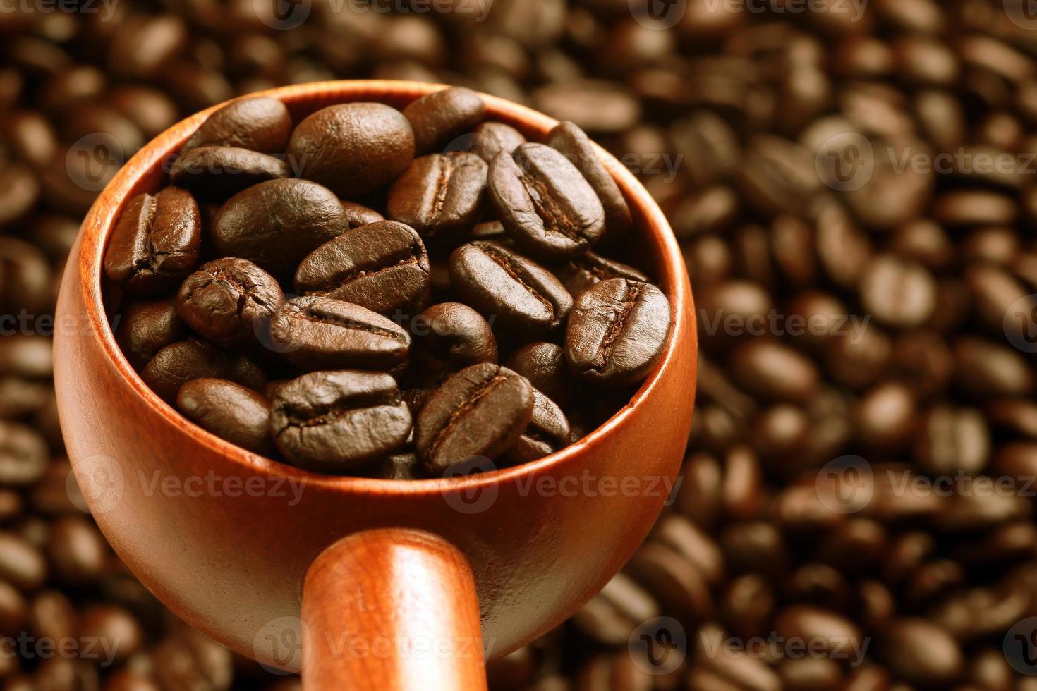 cucchiaio di caffè di legno foto