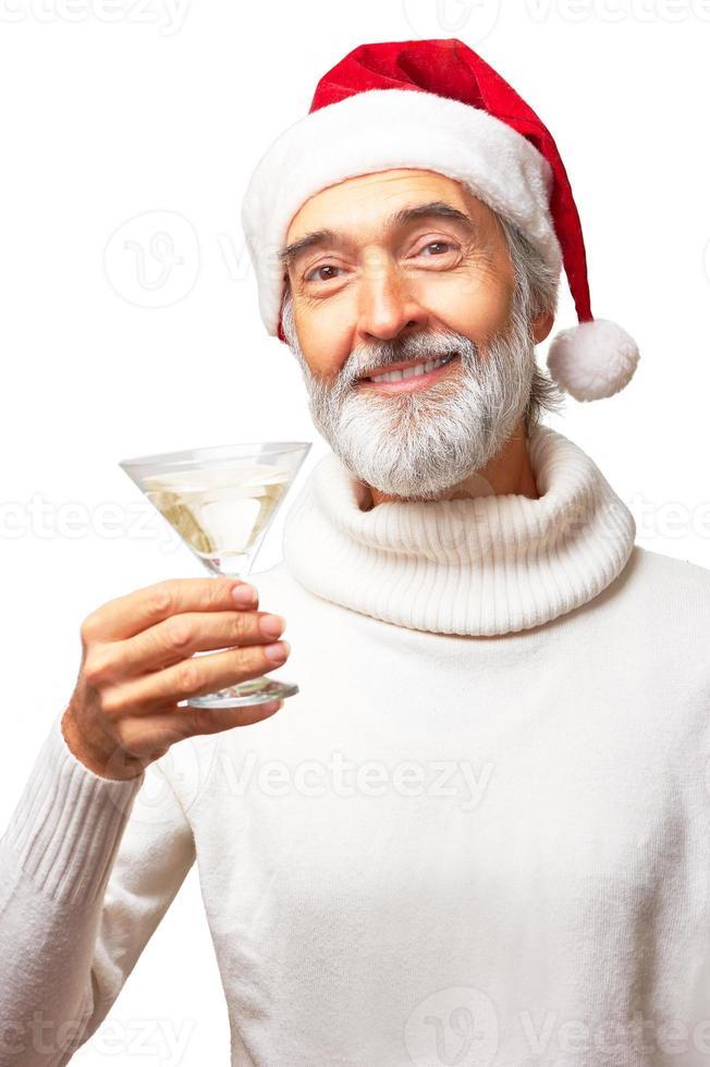 Babbo Natale Uomo Bello.Eldery Bell Uomo Con Cappello Di Babbo Natale Che Beve Martini 903813 Foto D Archivio