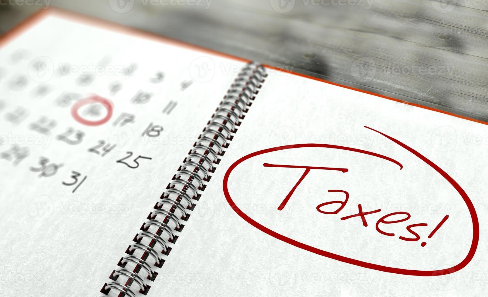 giorno importante delle tasse, concetto del calendario foto