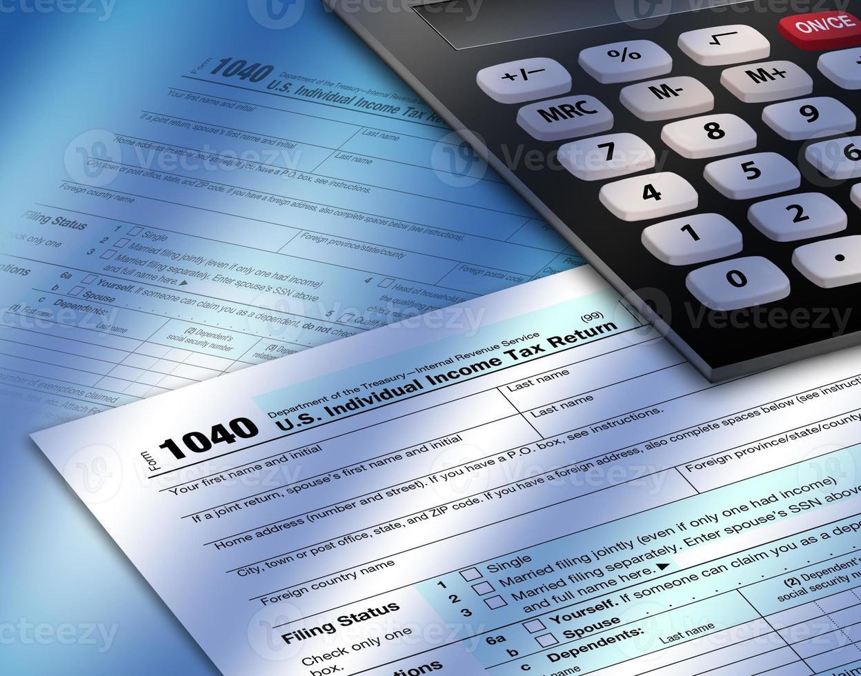 modulo imposta sul reddito 1040 con calibro foto