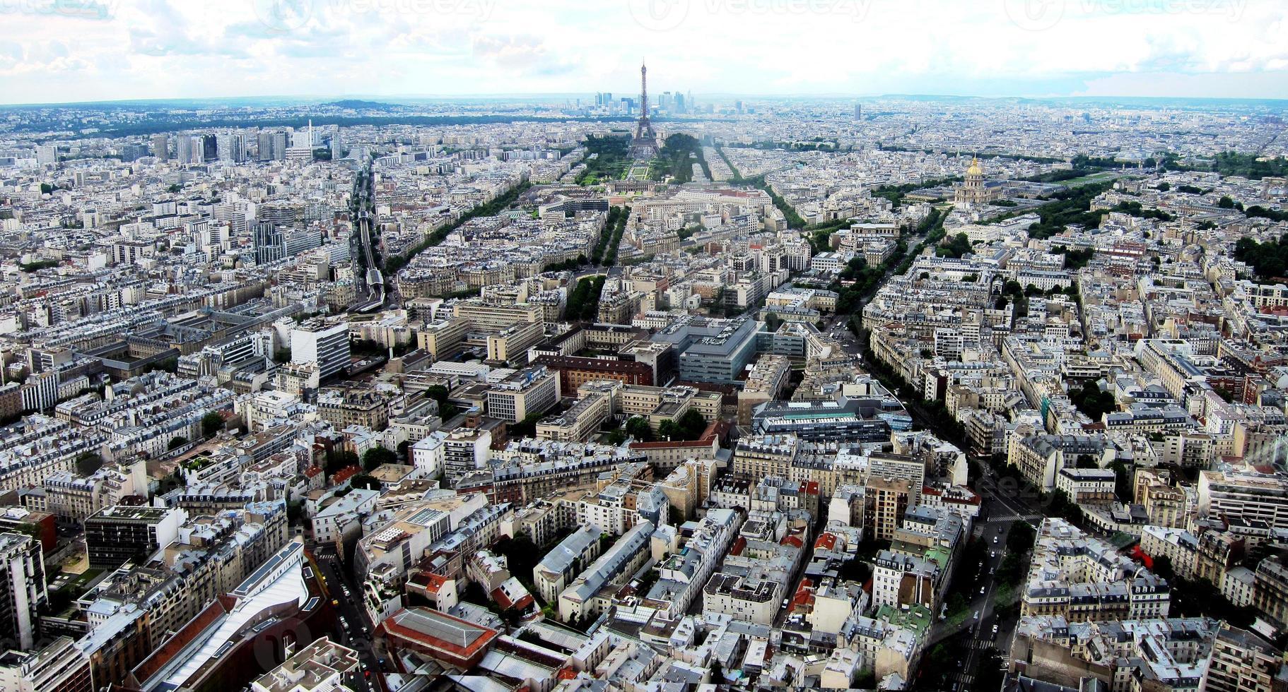 vista a volo d'uccello di Parigi foto