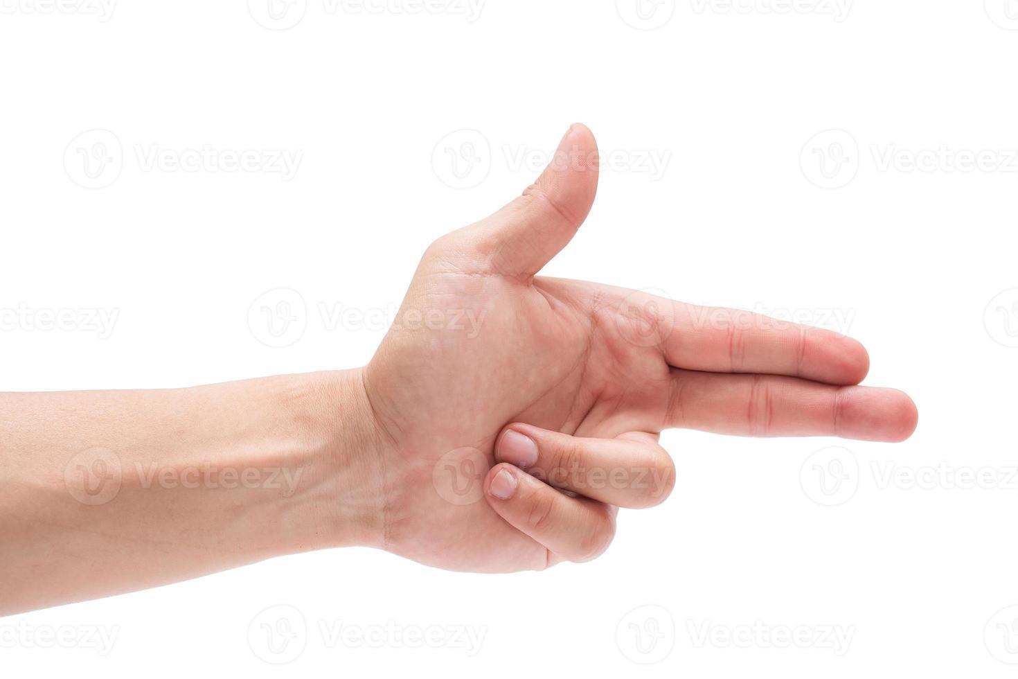 gesto di mano caucasico maschio isolato su priorità bassa bianca foto