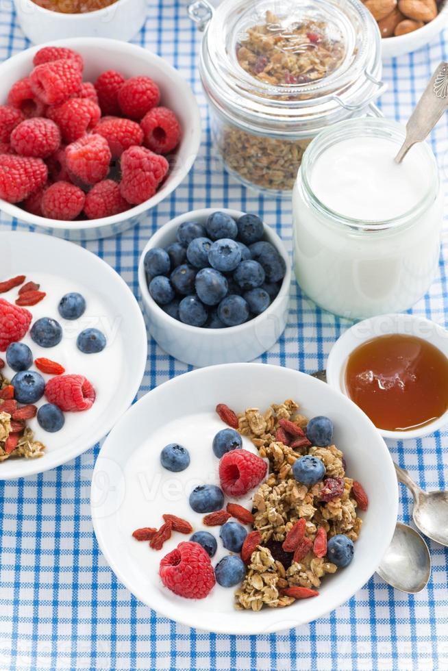 colazione con muesli, frutti di bosco, miele e yogurt, vista dall'alto foto