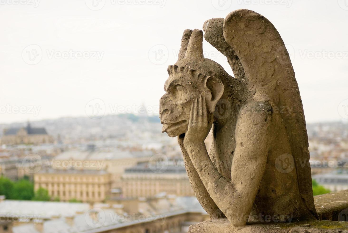 Chimera sulla cattedrale di Notre Dame. Parigi. foto