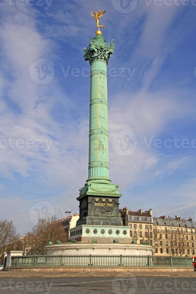 colonna di luglio sul posto della Bastiglia, Parigi, Francia. foto