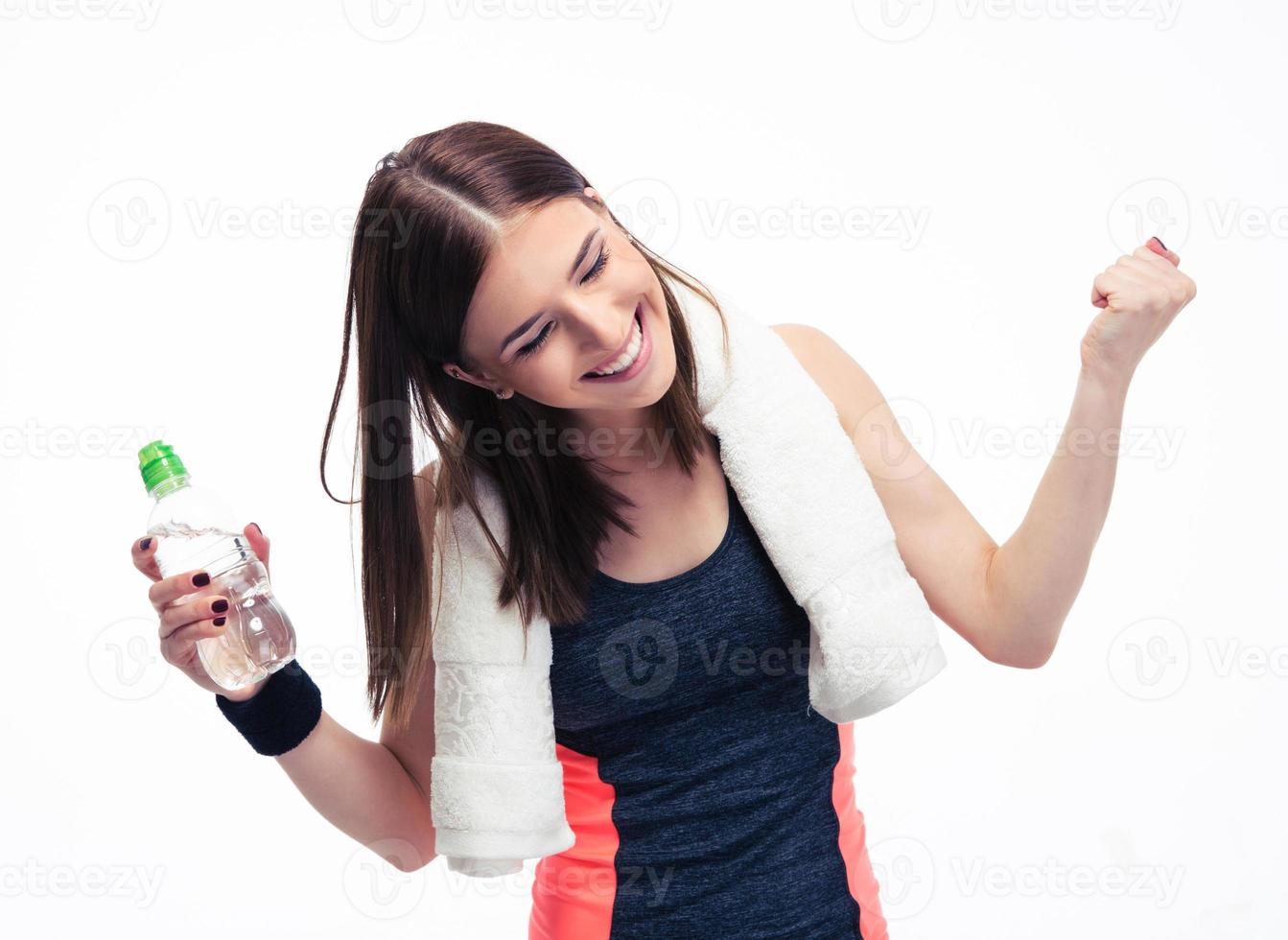 donna fitness festeggia la sua vittoria foto