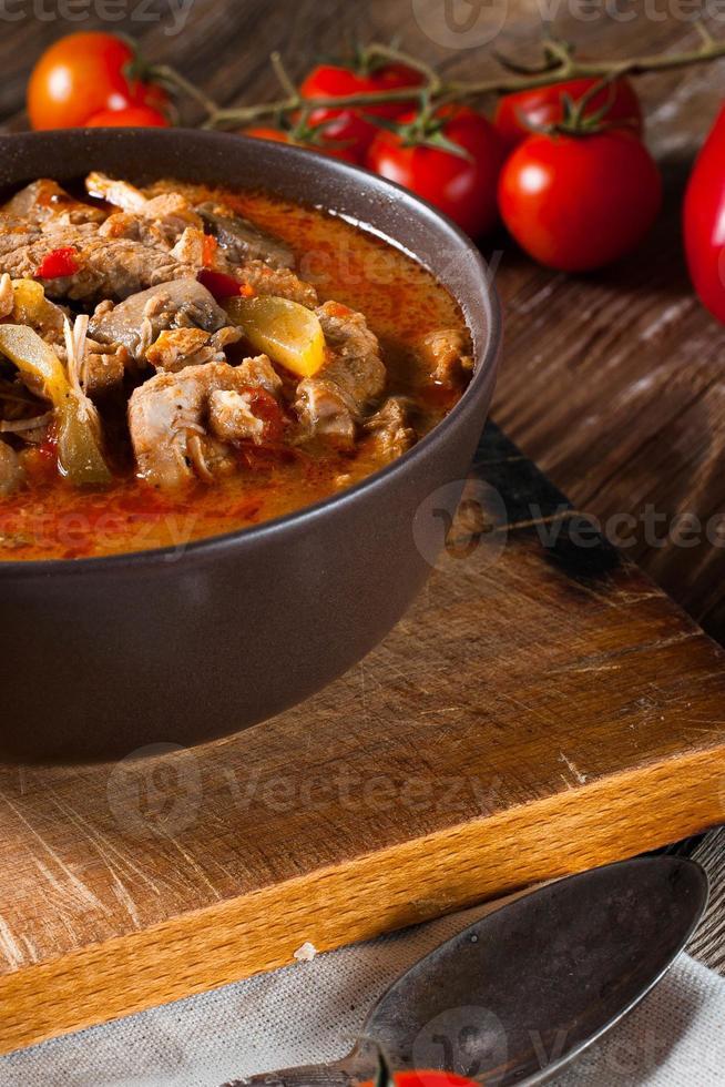 zuppa di gulasch con paprika. foto
