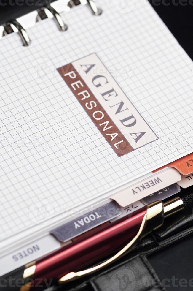 agenda di carta del primo piano foto