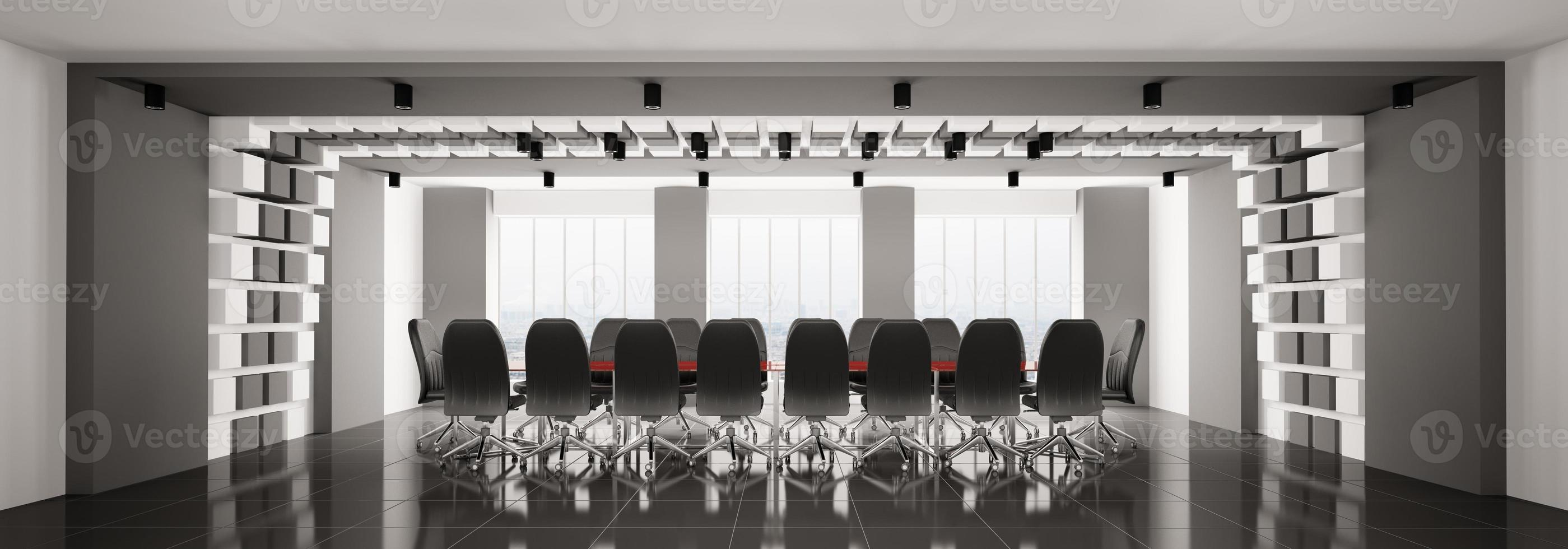 panorama moderno 3d della sala del consiglio foto
