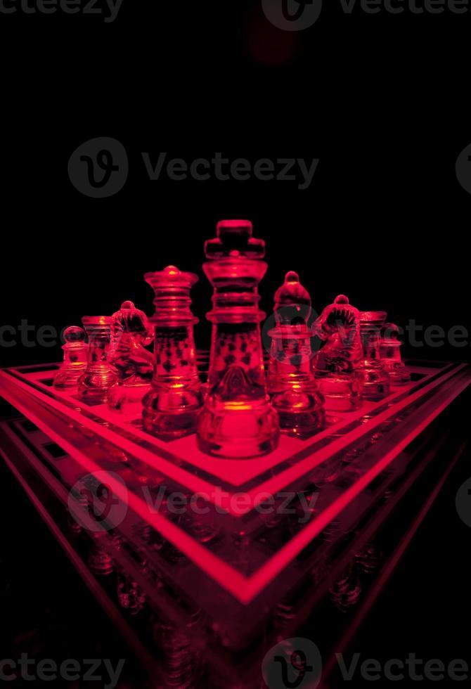 set di scacchi di vetro foto