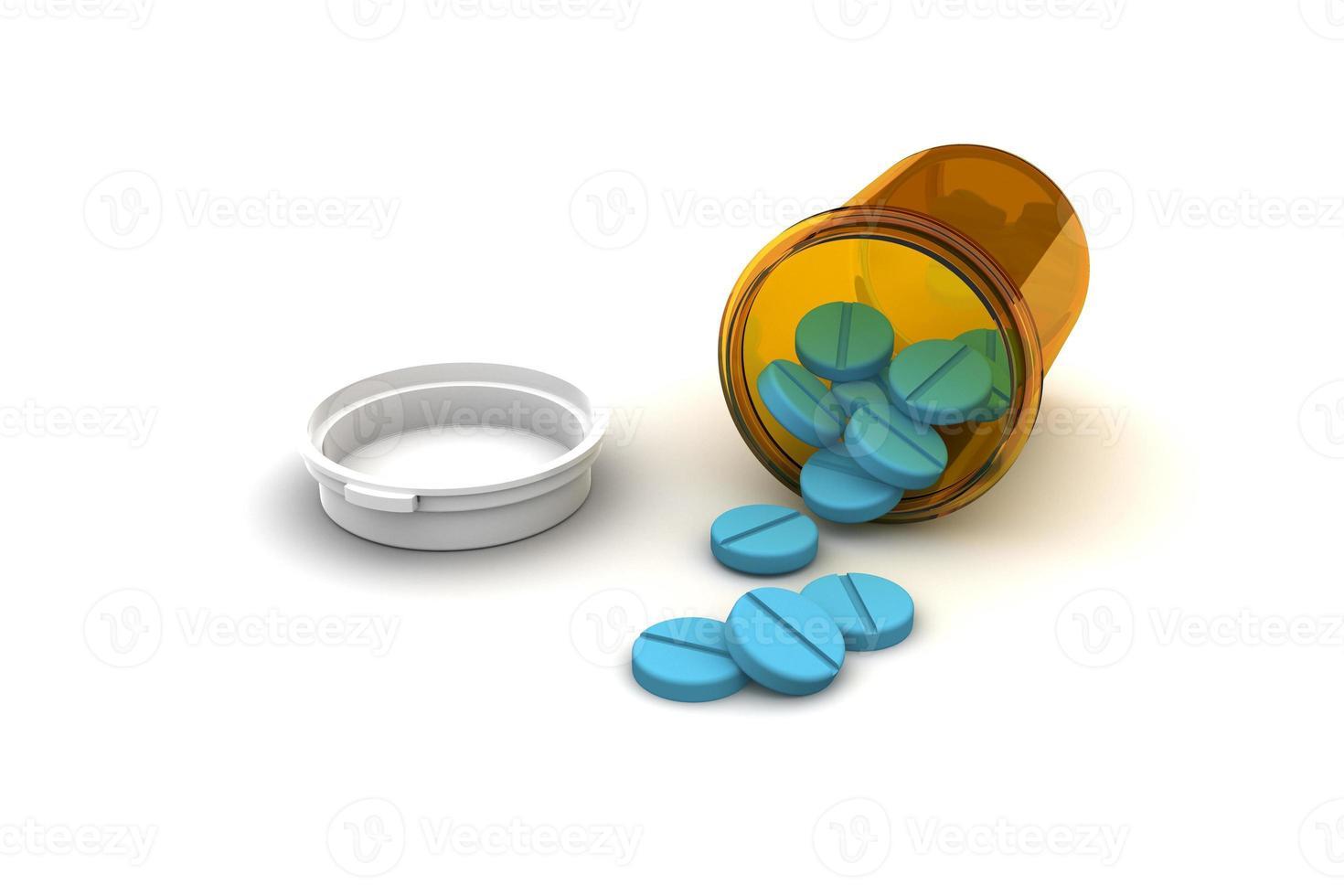 bottiglia di pillole blu foto