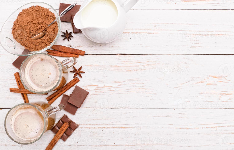 bevanda calda al cacao. sfondo. foto
