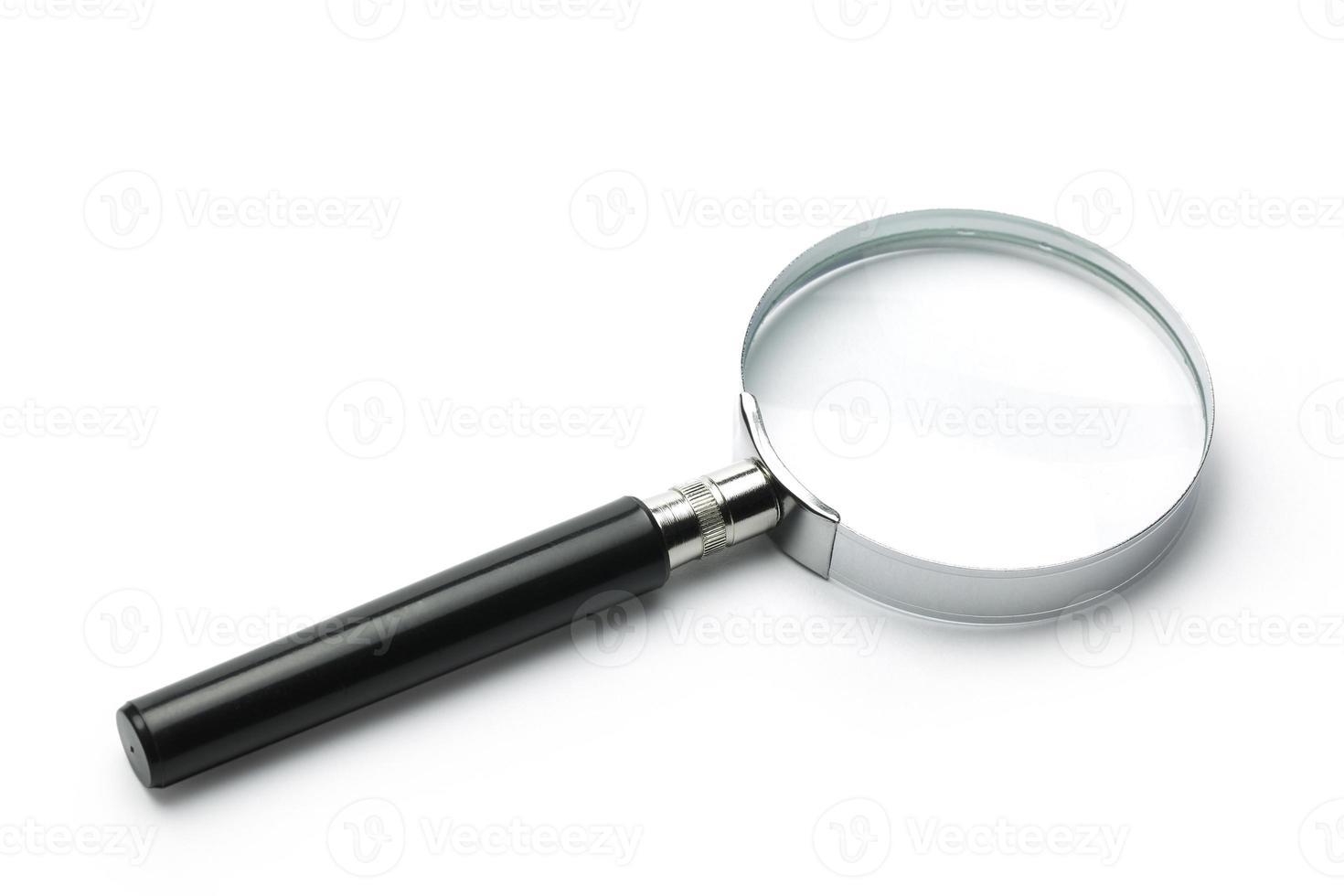 lente d'ingrandimento su sfondo bianco, tracciato di ritaglio. foto
