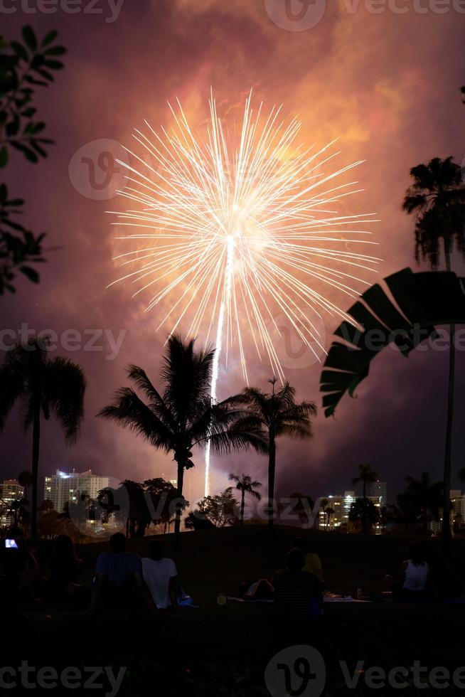 celebrazione di fuochi d'artificio di notte foto