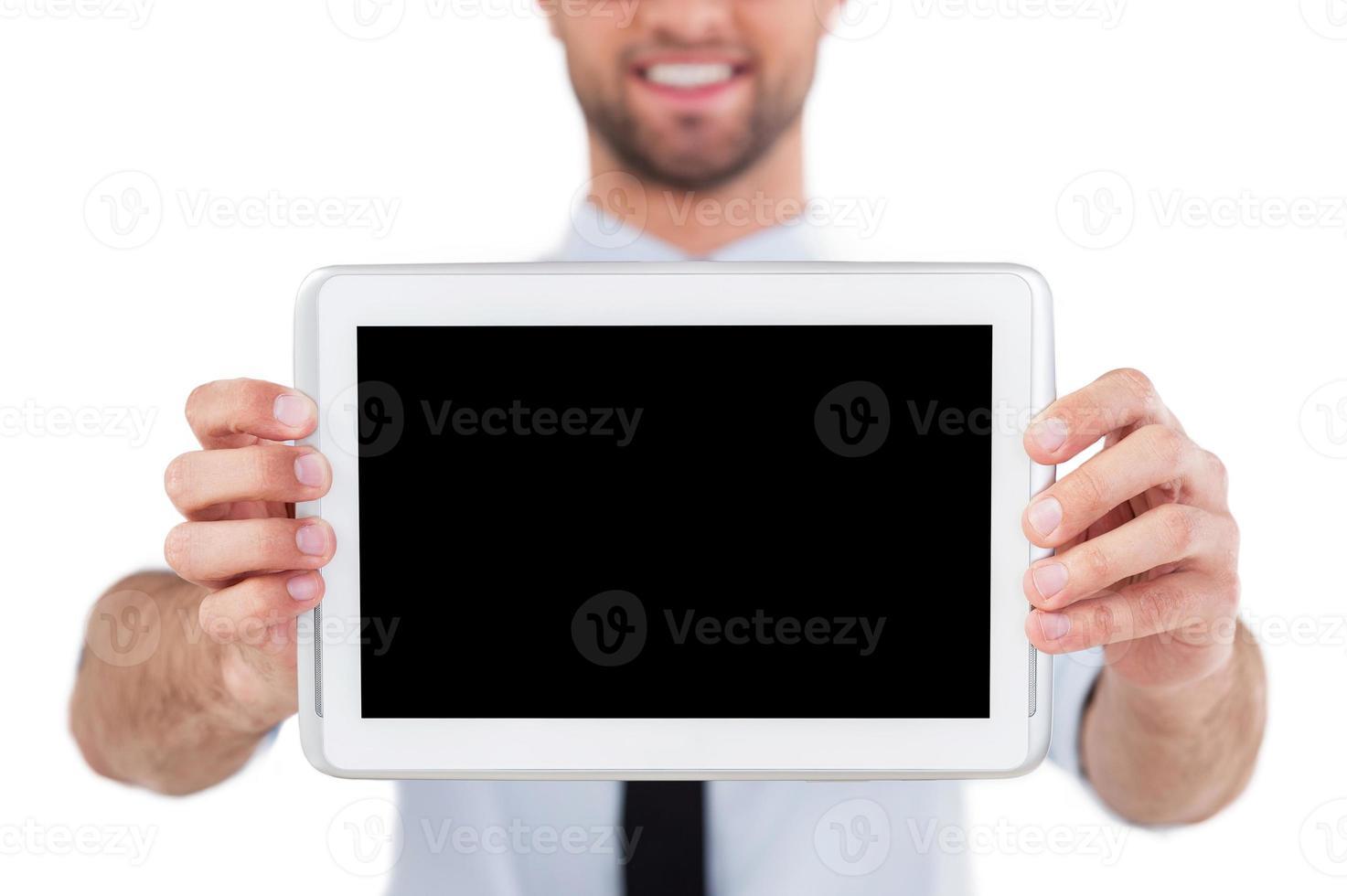 copia spazio su tavoletta digitale. foto