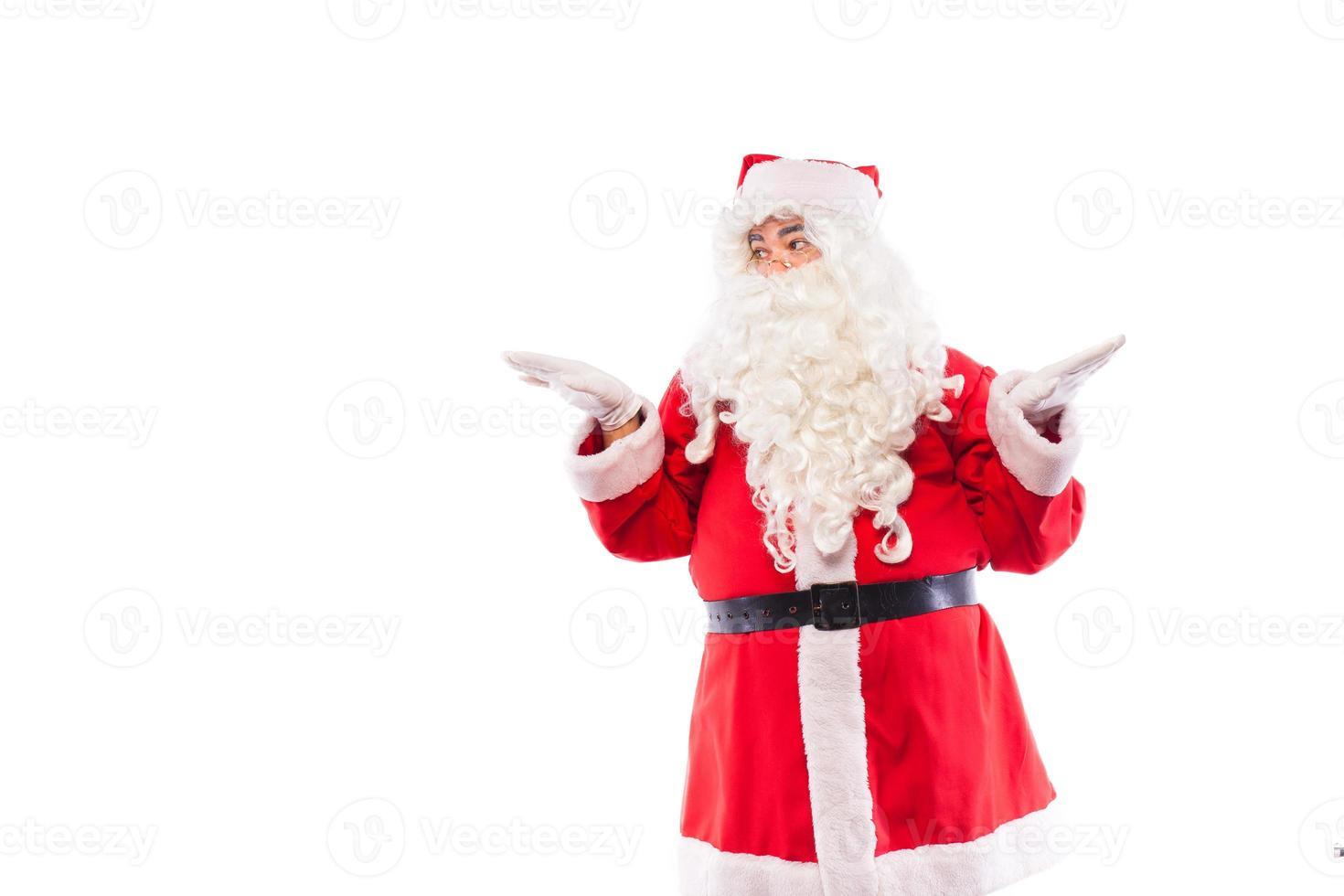 Babbo Natale con su bianco, con spazio di copia foto