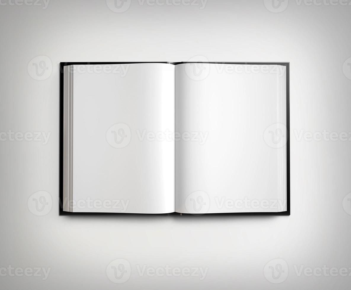 apra il libro di testo in bianco sul gradiente chiaro foto