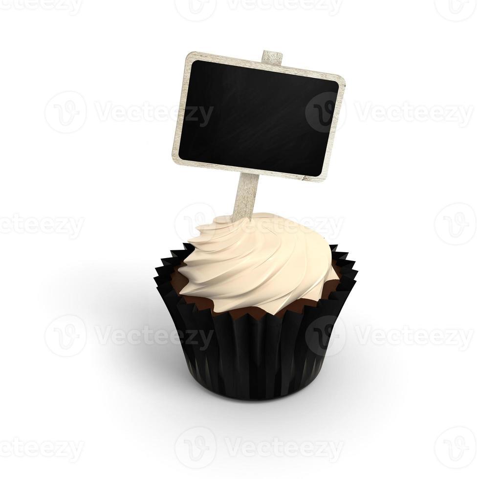 cupcake di buon compleanno con etichetta cartello lavagna su bianco foto
