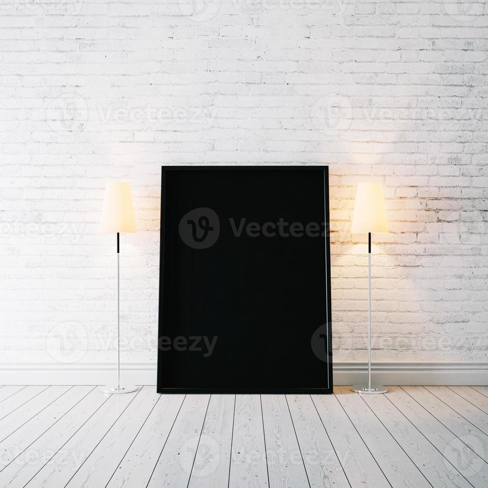 foto della cornice nera sul pavimento bianco. Rendering 3d