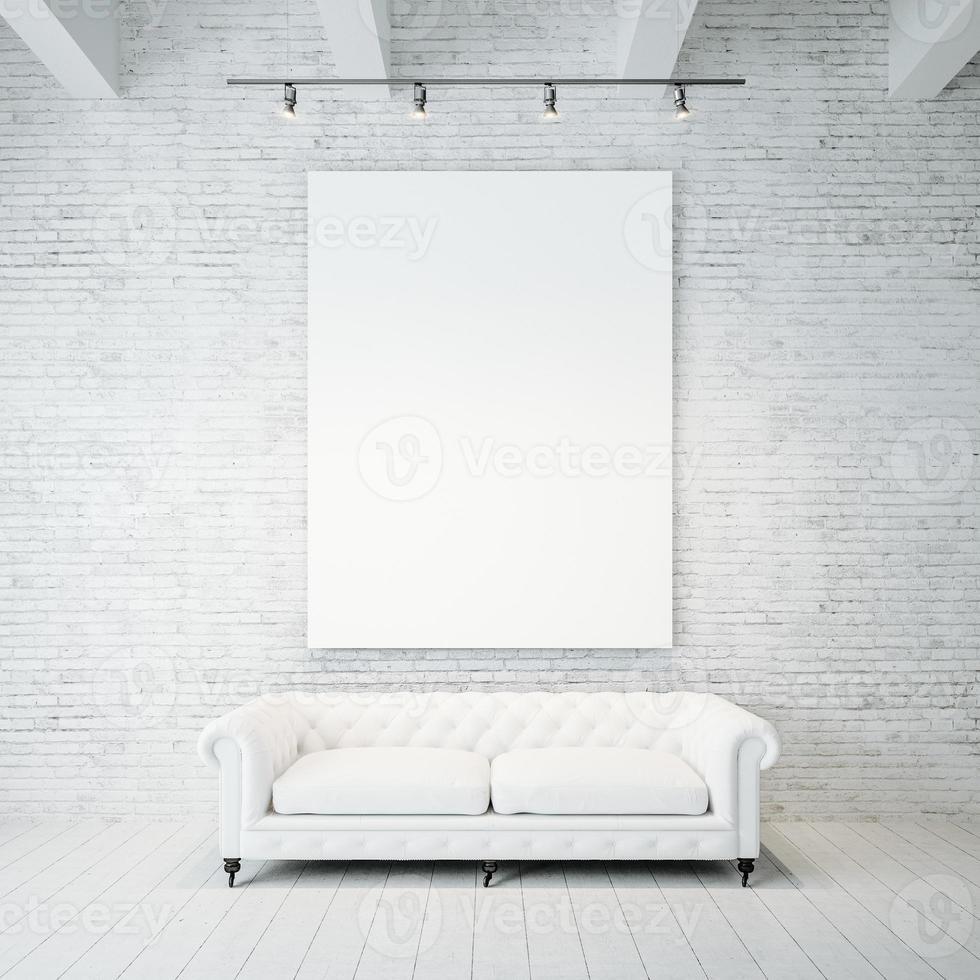 foto di tela vuota sullo sfondo del muro di mattoni e