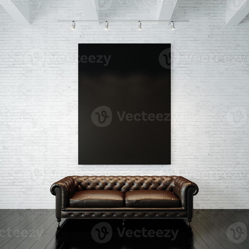 foto di tela nera vuota sul muro di mattoni dipinto