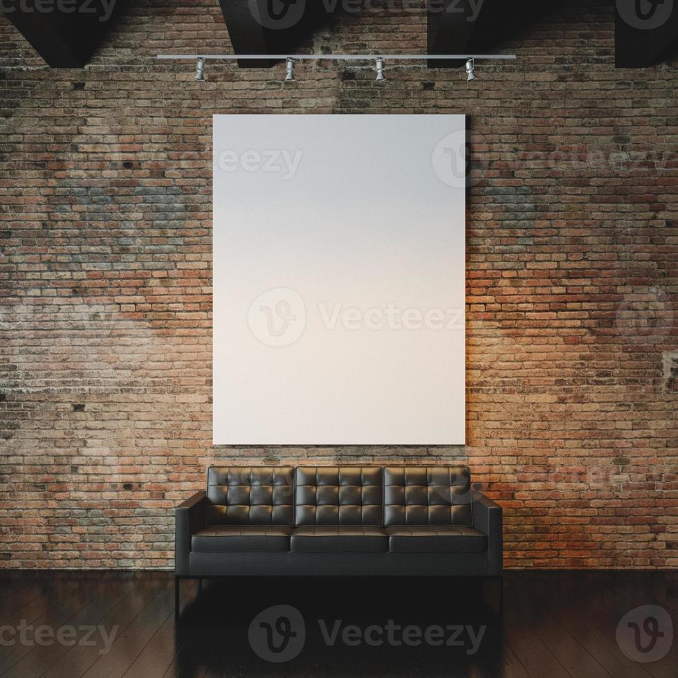 foto di tela vuota sullo sfondo del muro di mattoni. 3d