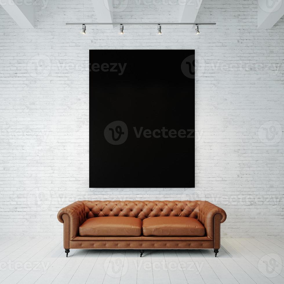 foto di tela vuota nera sullo sfondo del muro di mattoni