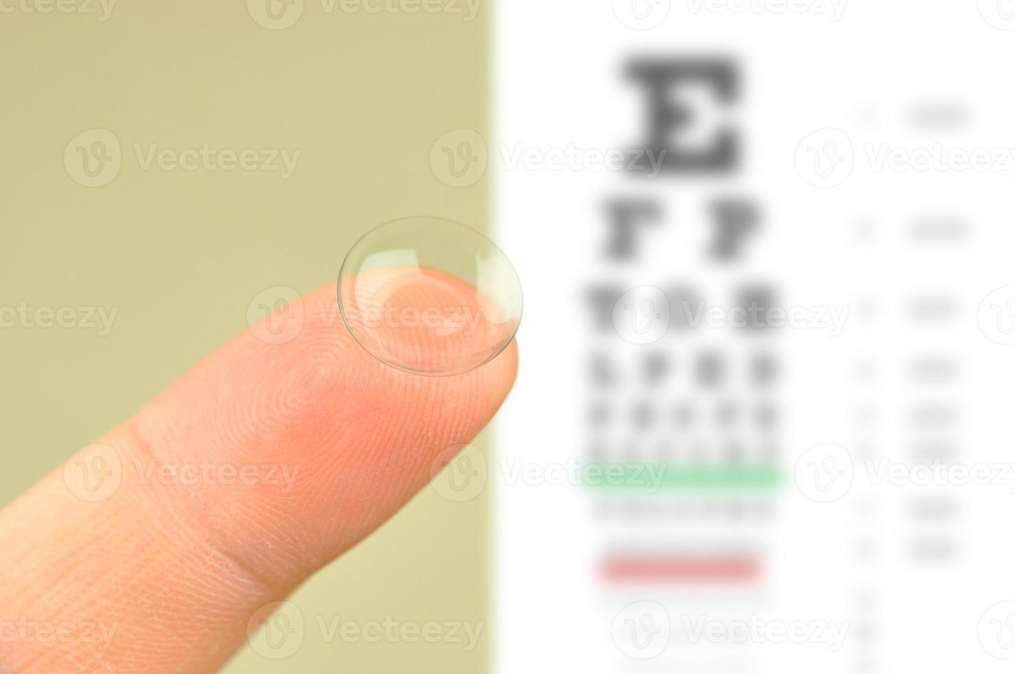 diagramma di prova delle lenti a contatto e degli occhi foto