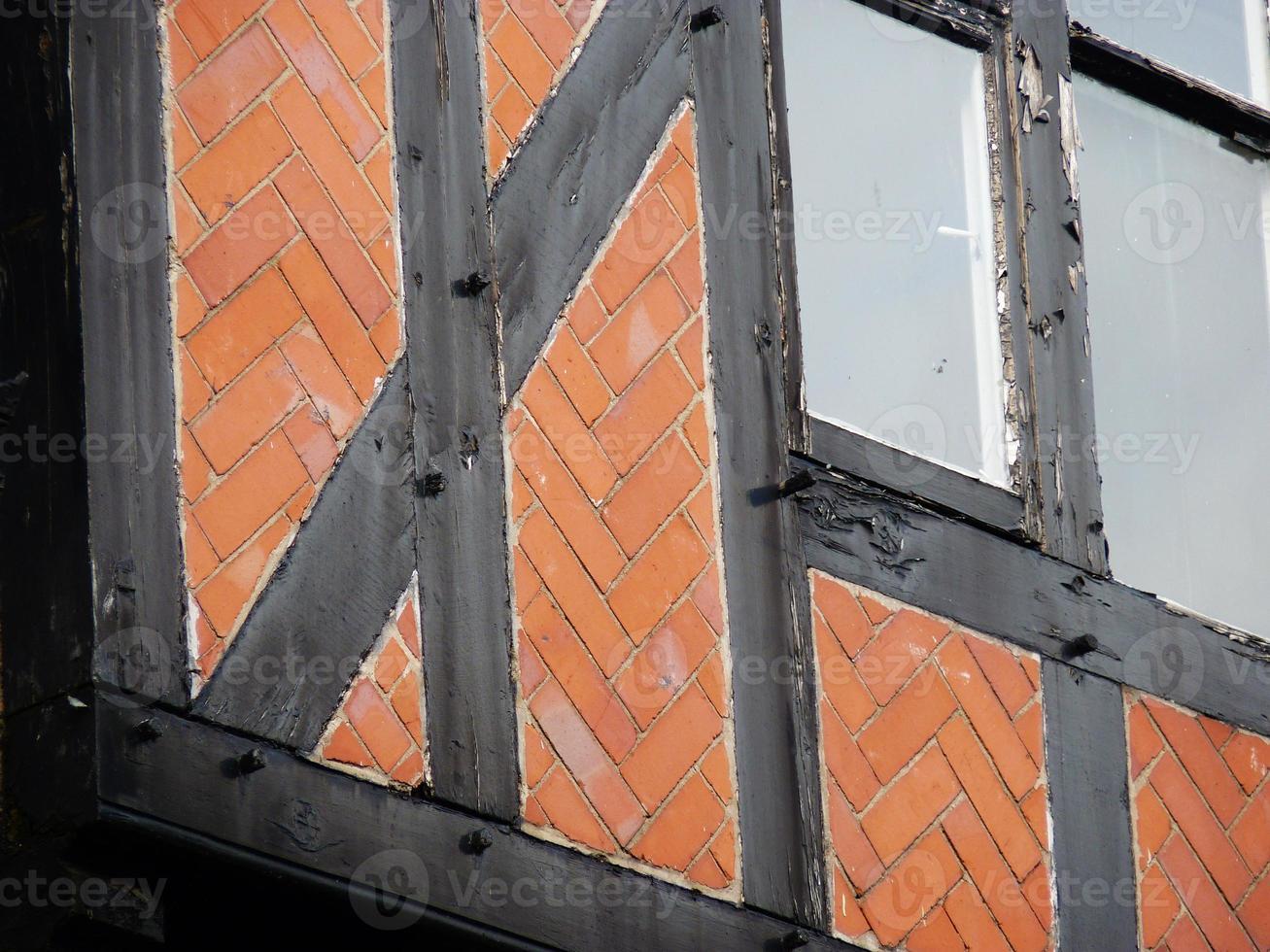 cheshire chesterire con finestre a piombo tudor a graticcio foto
