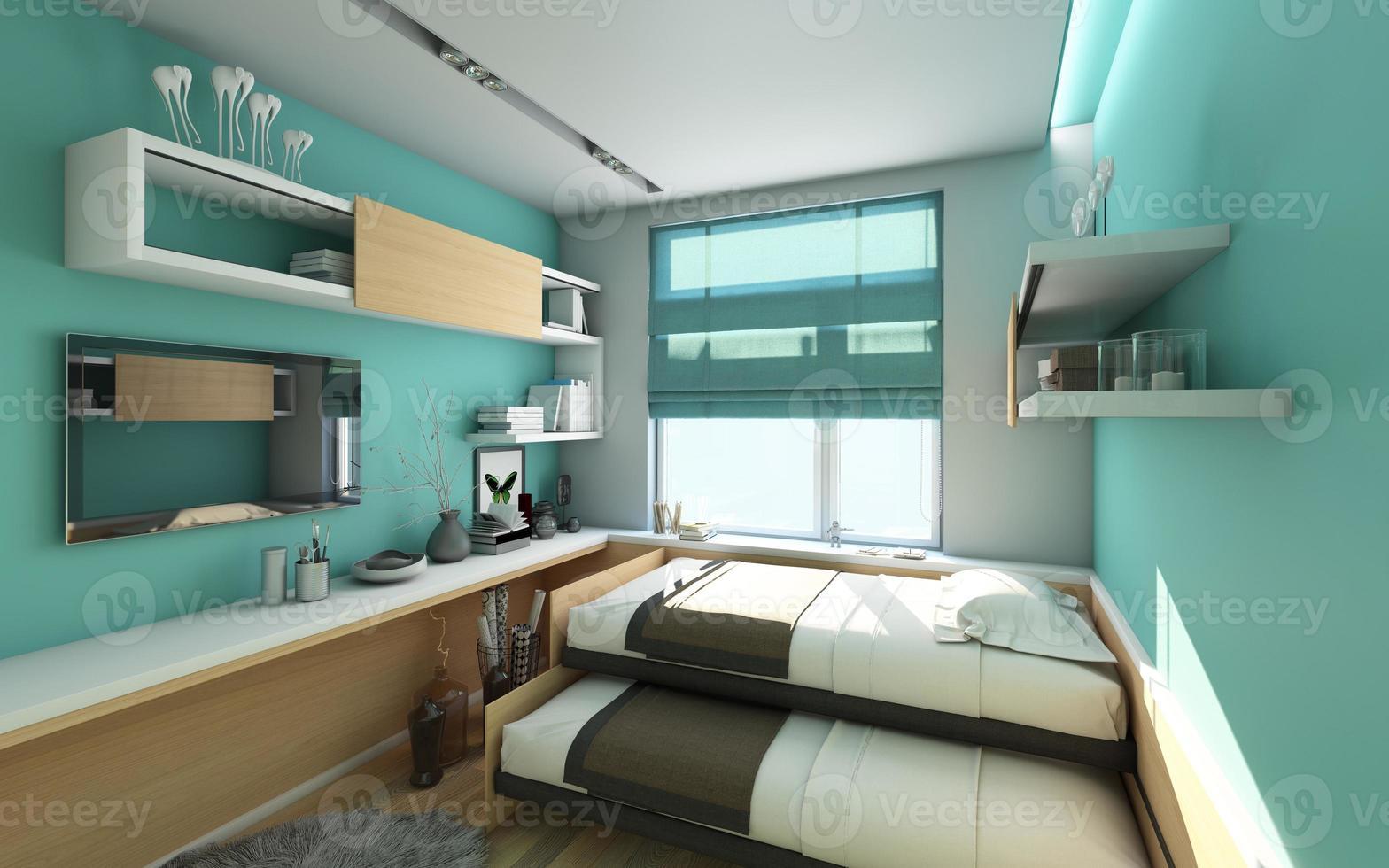 la stanza di lavoro e la camera da letto degli adolescenti foto
