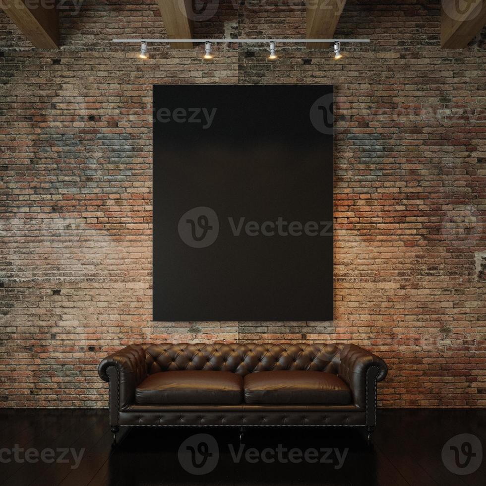 foto di tela nera vuota sul muro di mattoni naturale