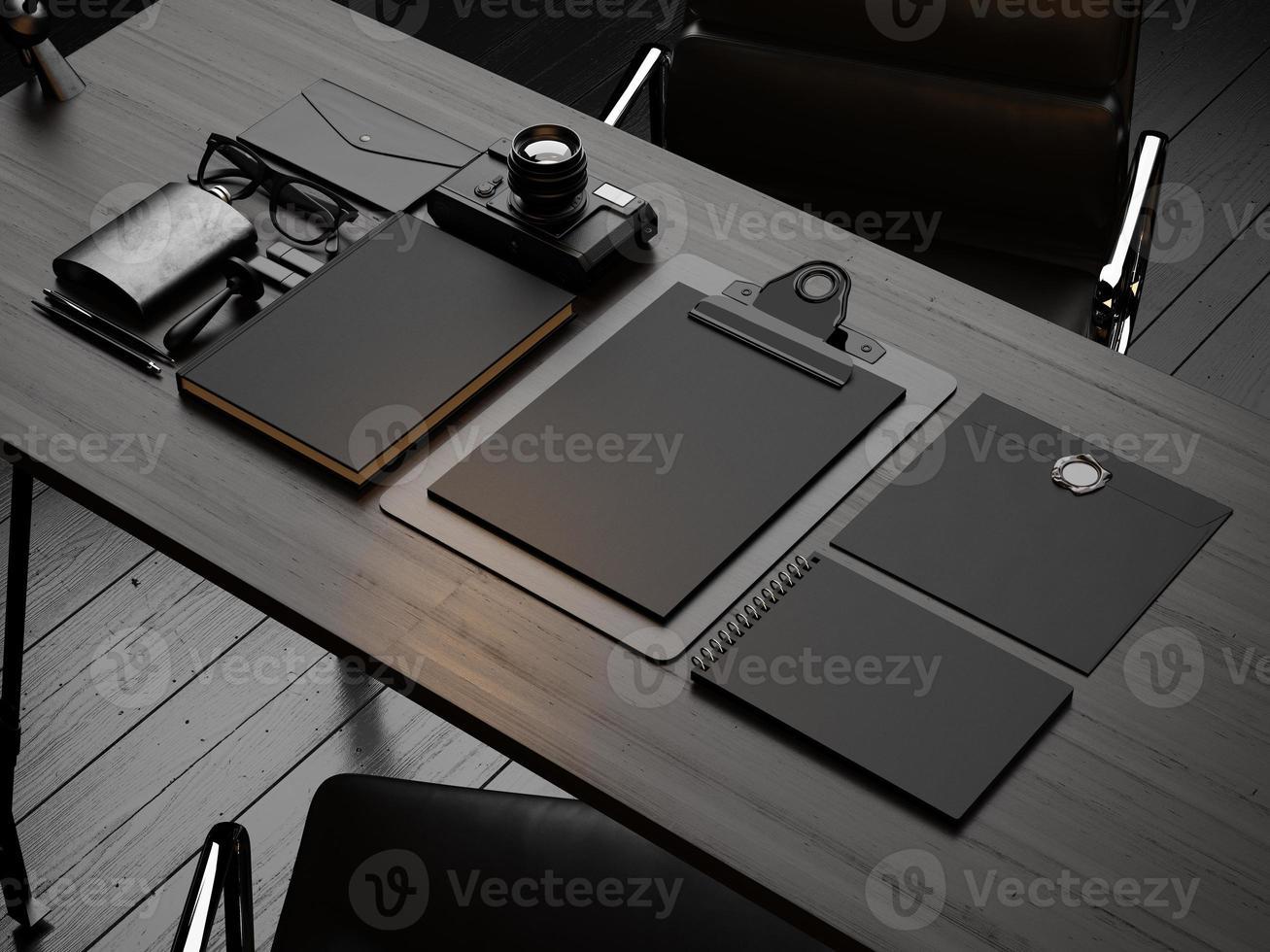 insieme di elementi di mockup sul tavolo di legno. Rendering 3D foto